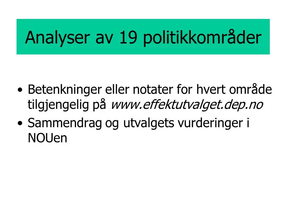 Analyser av 19 politikkområder Betenkninger eller notater for hvert område tilgjengelig på www.effektutvalget.dep.no Sammendrag og utvalgets vurderinger i NOUen