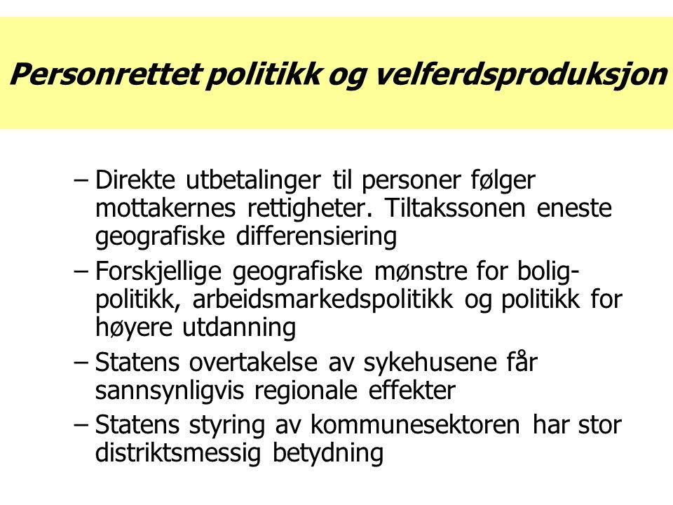Personrettet politikk og velferdsproduksjon –Direkte utbetalinger til personer følger mottakernes rettigheter.
