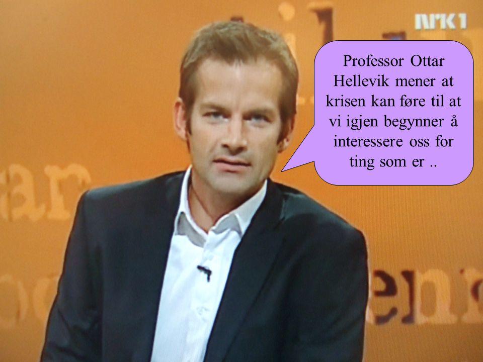 Professor Ottar Hellevik mener at krisen kan føre til at vi igjen begynner å interessere oss for ting som er..
