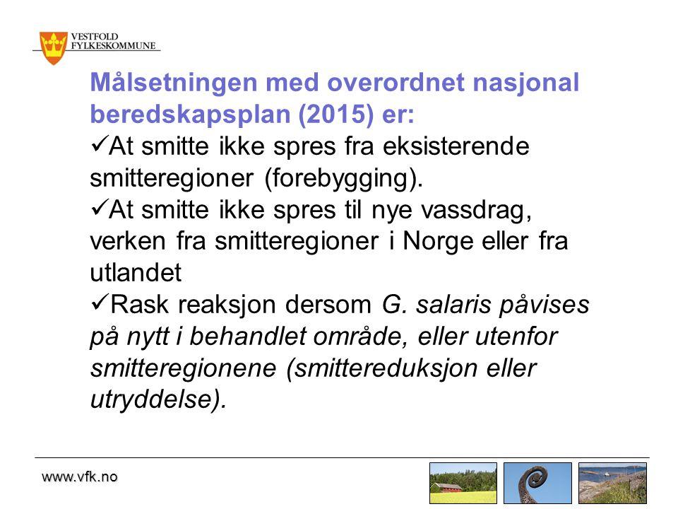 www.vfk.no Målsetningen med overordnet nasjonal beredskapsplan (2015) er: At smitte ikke spres fra eksisterende smitteregioner (forebygging).