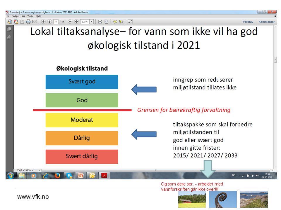 www.vfk.no Og som dere ser, - arbeidet med vannforskriften går ikke over!!!