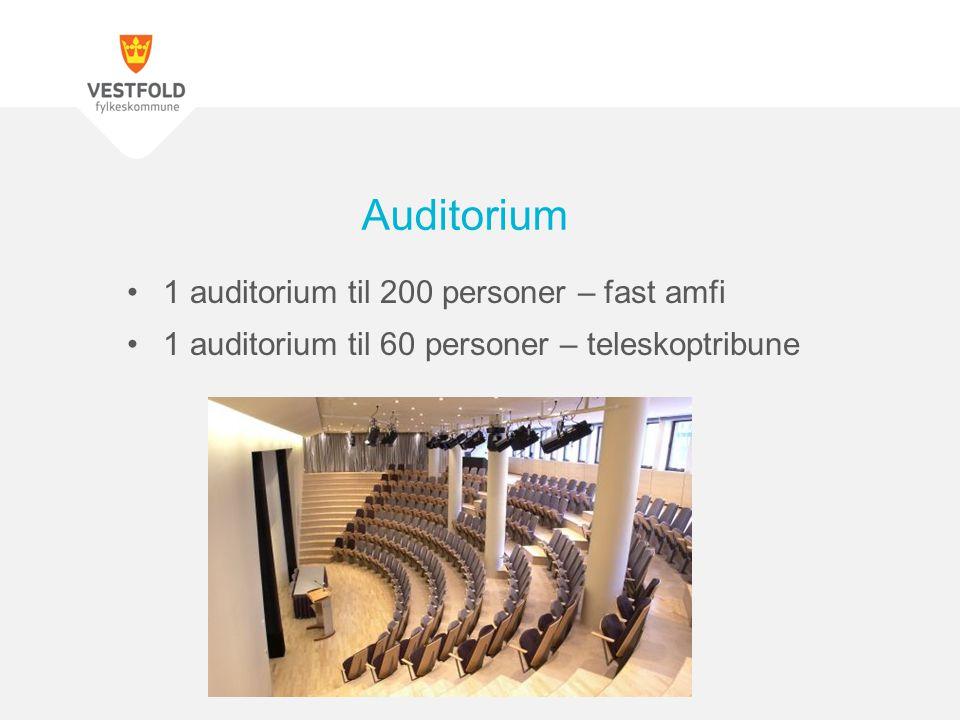1 auditorium til 200 personer – fast amfi 1 auditorium til 60 personer – teleskoptribune Auditorium