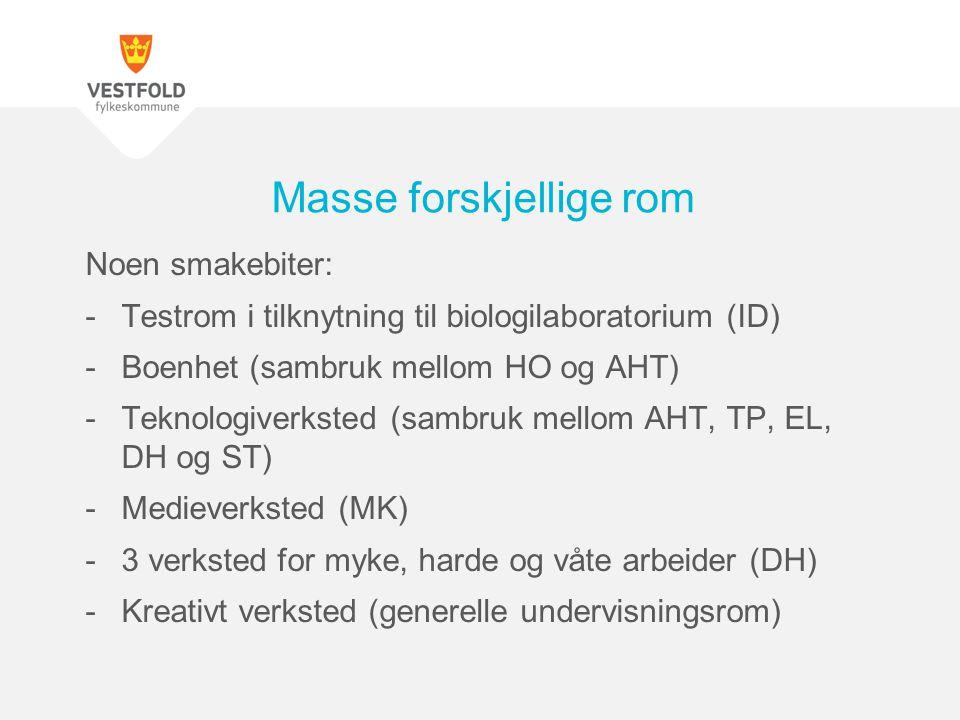 Noen smakebiter: -Testrom i tilknytning til biologilaboratorium (ID) -Boenhet (sambruk mellom HO og AHT) -Teknologiverksted (sambruk mellom AHT, TP, E