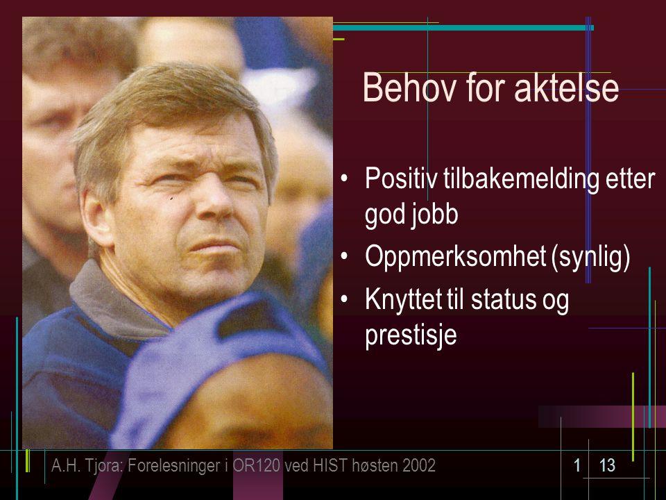A.H. Tjora: Forelesninger i OR120 ved HIST høsten 2002113 Behov for aktelse Positiv tilbakemelding etter god jobb Oppmerksomhet (synlig) Knyttet til s
