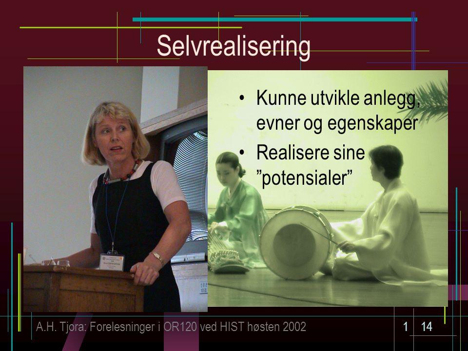 """A.H. Tjora: Forelesninger i OR120 ved HIST høsten 2002114 Selvrealisering Kunne utvikle anlegg, evner og egenskaper Realisere sine """"potensialer"""""""