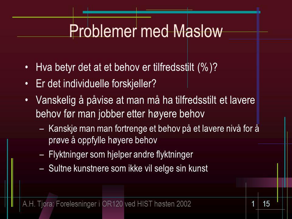 A.H. Tjora: Forelesninger i OR120 ved HIST høsten 2002115 Problemer med Maslow Hva betyr det at et behov er tilfredsstilt (%)? Er det individuelle for