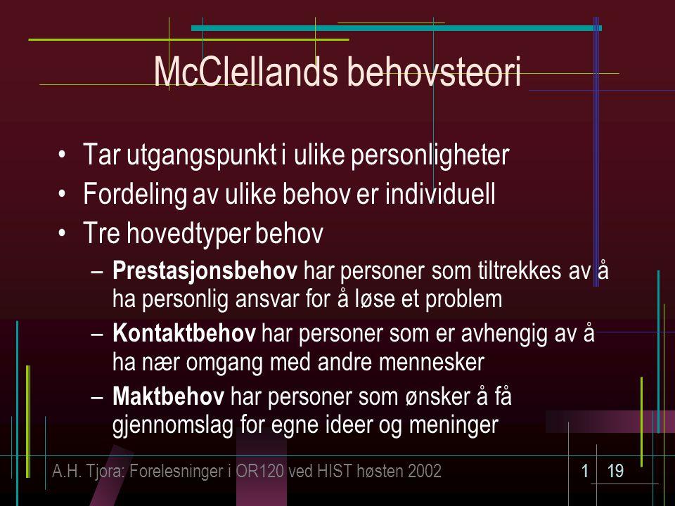 A.H. Tjora: Forelesninger i OR120 ved HIST høsten 2002119 McClellands behovsteori Tar utgangspunkt i ulike personligheter Fordeling av ulike behov er