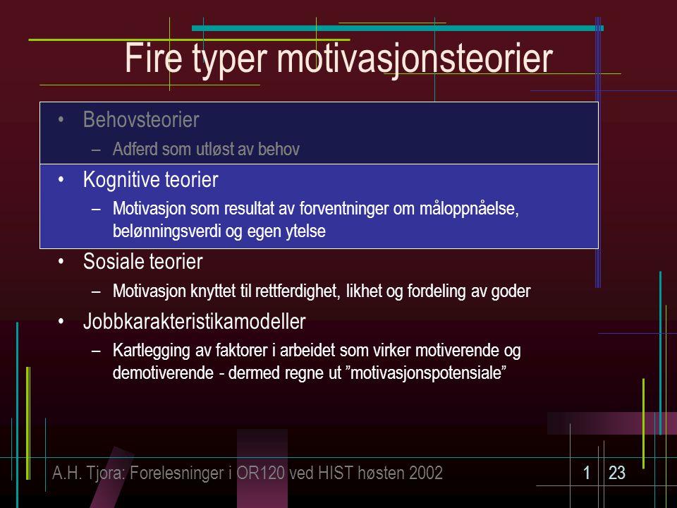 A.H. Tjora: Forelesninger i OR120 ved HIST høsten 2002123 Fire typer motivasjonsteorier Behovsteorier –Adferd som utløst av behov Kognitive teorier –M