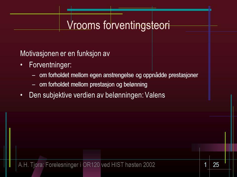 A.H. Tjora: Forelesninger i OR120 ved HIST høsten 2002125 Vrooms forventingsteori Motivasjonen er en funksjon av Forventninger: –om forholdet mellom e