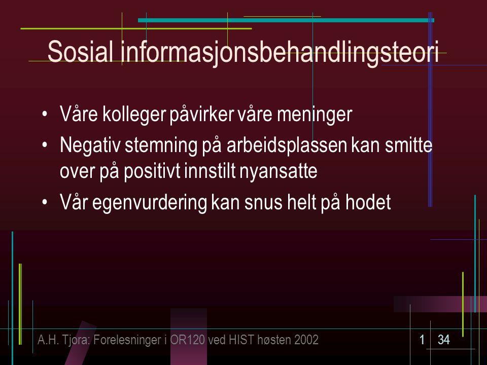 A.H. Tjora: Forelesninger i OR120 ved HIST høsten 2002134 Sosial informasjonsbehandlingsteori Våre kolleger påvirker våre meninger Negativ stemning på
