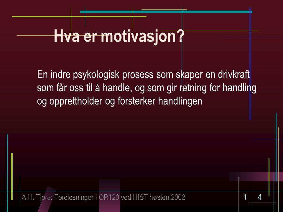 A.H. Tjora: Forelesninger i OR120 ved HIST høsten 200214 Hva er motivasjon? En indre psykologisk prosess som skaper en drivkraft som får oss til å han