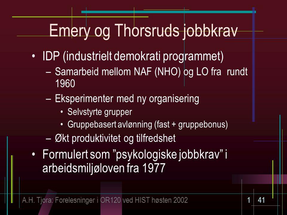 A.H. Tjora: Forelesninger i OR120 ved HIST høsten 2002141 Emery og Thorsruds jobbkrav IDP (industrielt demokrati programmet) –Samarbeid mellom NAF (NH