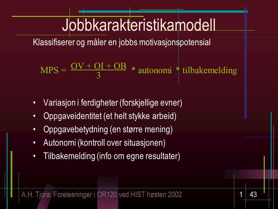 A.H. Tjora: Forelesninger i OR120 ved HIST høsten 2002143 Jobbkarakteristikamodell Klassifiserer og måler en jobbs motivasjonspotensial Variasjon i fe