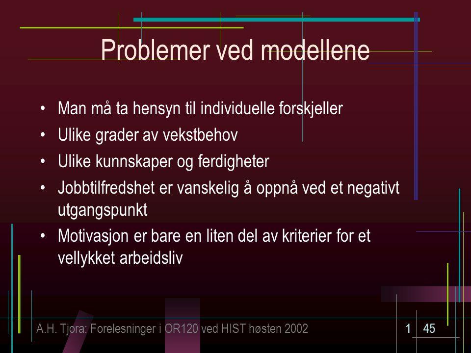 A.H. Tjora: Forelesninger i OR120 ved HIST høsten 2002145 Problemer ved modellene Man må ta hensyn til individuelle forskjeller Ulike grader av vekstb