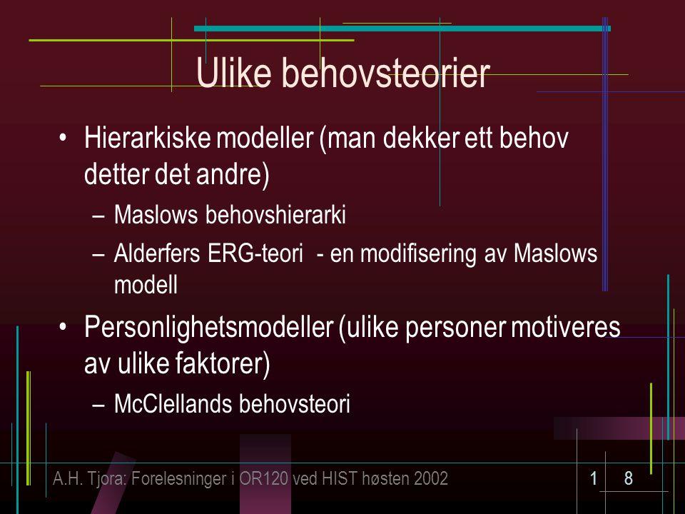 A.H. Tjora: Forelesninger i OR120 ved HIST høsten 200218 Ulike behovsteorier Hierarkiske modeller (man dekker ett behov detter det andre) –Maslows beh
