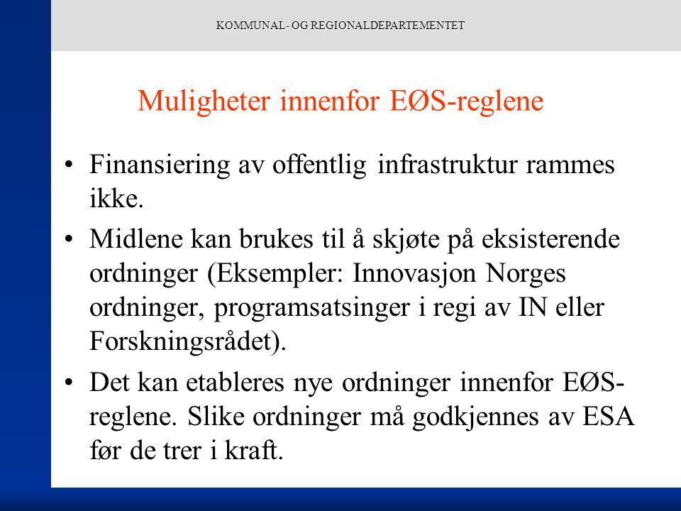 KOMMUNAL- OG REGIONALDEPARTEMENTET Muligheter innenfor EØS-reglene Finansiering av offentlig infrastruktur rammes ikke.