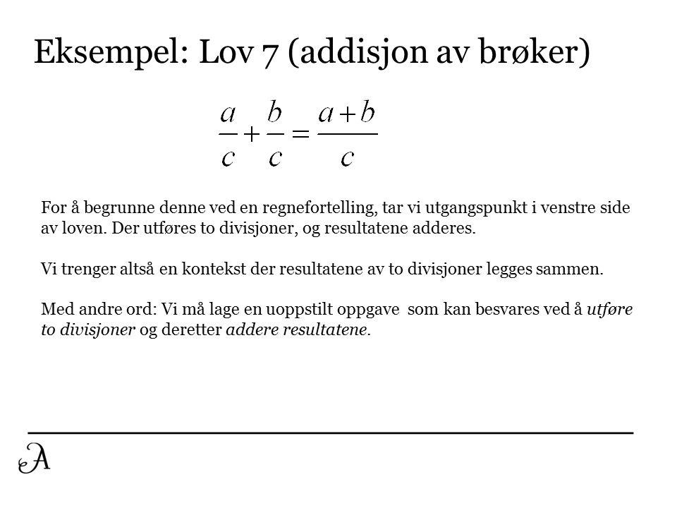 1C: Bruk av lovene Sentralt poeng: Hver bokstav (variabel) i de algebraiske lovene kan erstattes med et uttrykk.