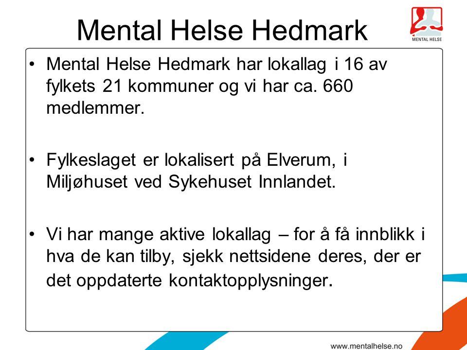 Mental Helse Hedmark Mental Helse Hedmark har lokallag i 16 av fylkets 21 kommuner og vi har ca. 660 medlemmer. Fylkeslaget er lokalisert på Elverum,