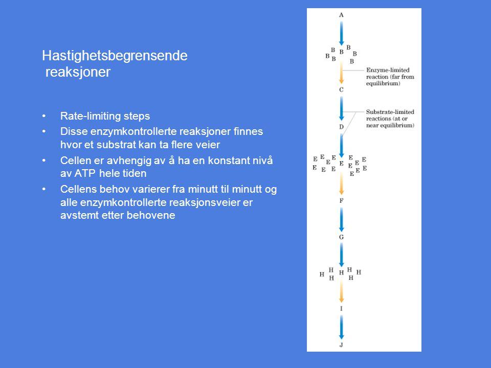 Hastighetsbegrensende reaksjoner Rate-limiting steps Disse enzymkontrollerte reaksjoner finnes hvor et substrat kan ta flere veier Cellen er avhengig