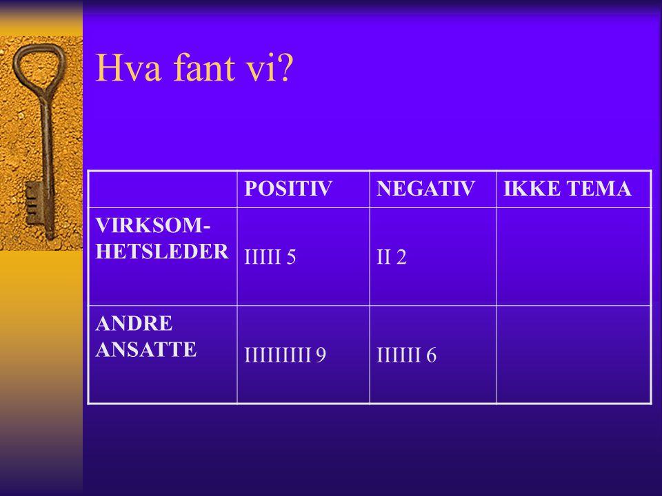Hva fant vi? POSITIVNEGATIVIKKE TEMA VIRKSOM- HETSLEDER IIIII 5II 2 ANDRE ANSATTE IIIIIIIII 9IIIIII 6