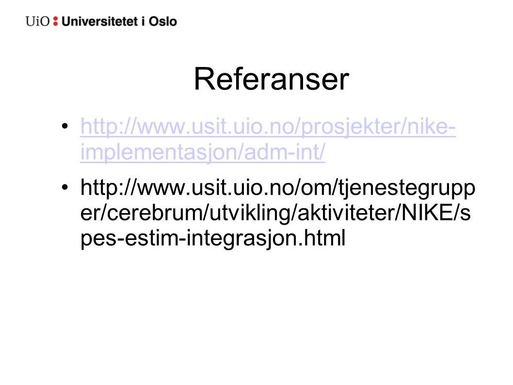 Referanser http://www.usit.uio.no/prosjekter/nike- implementasjon/adm-int/http://www.usit.uio.no/prosjekter/nike- implementasjon/adm-int/ http://www.u