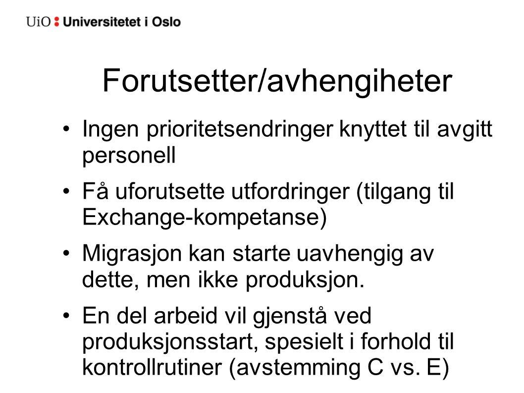 Forutsetter/avhengiheter Ingen prioritetsendringer knyttet til avgitt personell Få uforutsette utfordringer (tilgang til Exchange-kompetanse) Migrasjo