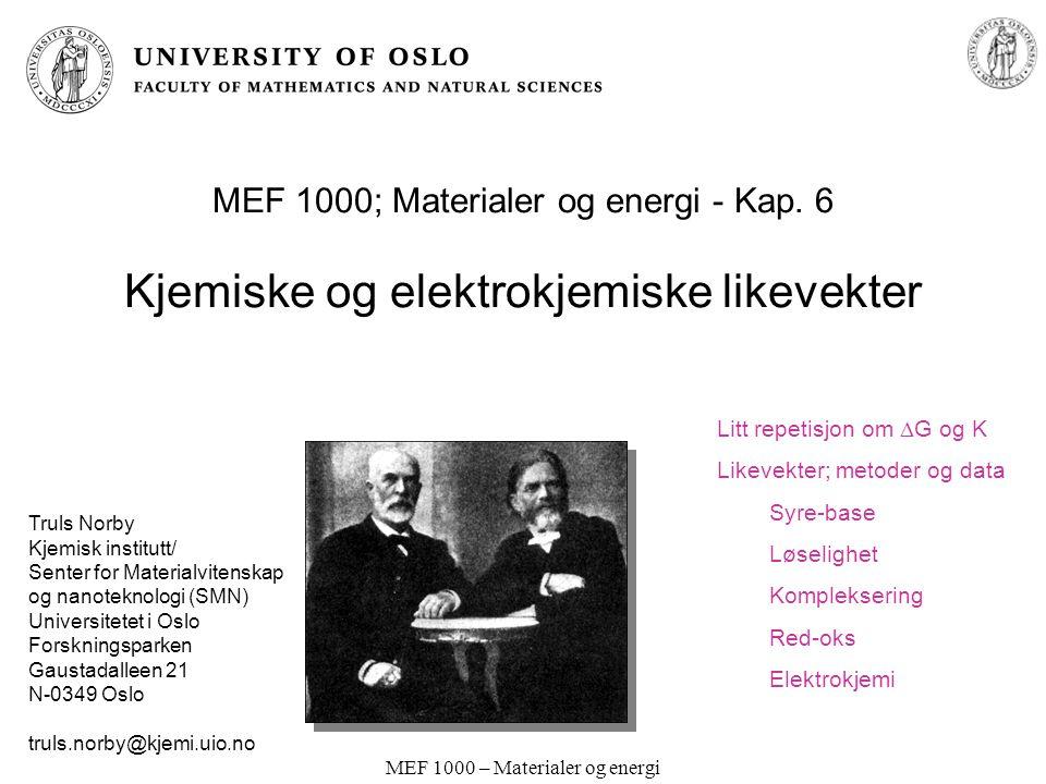 MEF 1000 – Materialer og energi Latimer-diagram; Sprang over flere oks.-trinn ClO 4 - ClO 3 - ClO 2 - ClO - Cl 2 Cl - +0.37 +0.30 +0.68 +0.42 +1.36 pH=14 Addér fri energi for delsprangene I og II:  G 0 =  G I 0 +  G II 0 Regn om til E: -nFE 0 = -n I FE I 0 - n II FE II 0 E 0 = (-n I FE I 0 - n II FE II 0 )/(-nF) = (n I E I 0 + n II E II 0 )/(n I +n II ) E 0 = (2 * 0.68 + 1*0.42) / 3 = 0.59 V (Dvs.: Vektet sum av potensialer dividert med antall elektroner totalt.) 0.89 .