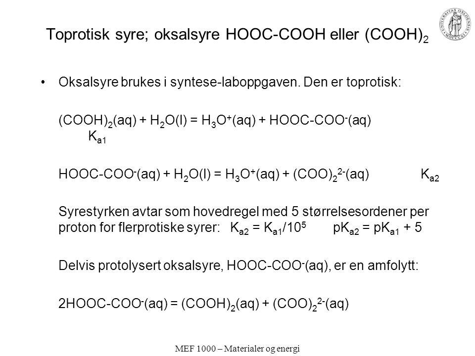 MEF 1000 – Materialer og energi Toprotisk syre; oksalsyre HOOC-COOH eller (COOH) 2 Oksalsyre brukes i syntese-laboppgaven. Den er toprotisk: (COOH) 2