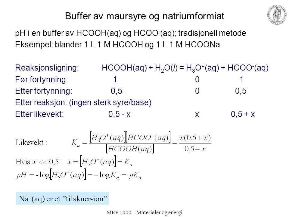 MEF 1000 – Materialer og energi Buffer av maursyre og natriumformiat pH i en buffer av HCOOH(aq) og HCOO - (aq); tradisjonell metode Eksempel: blander