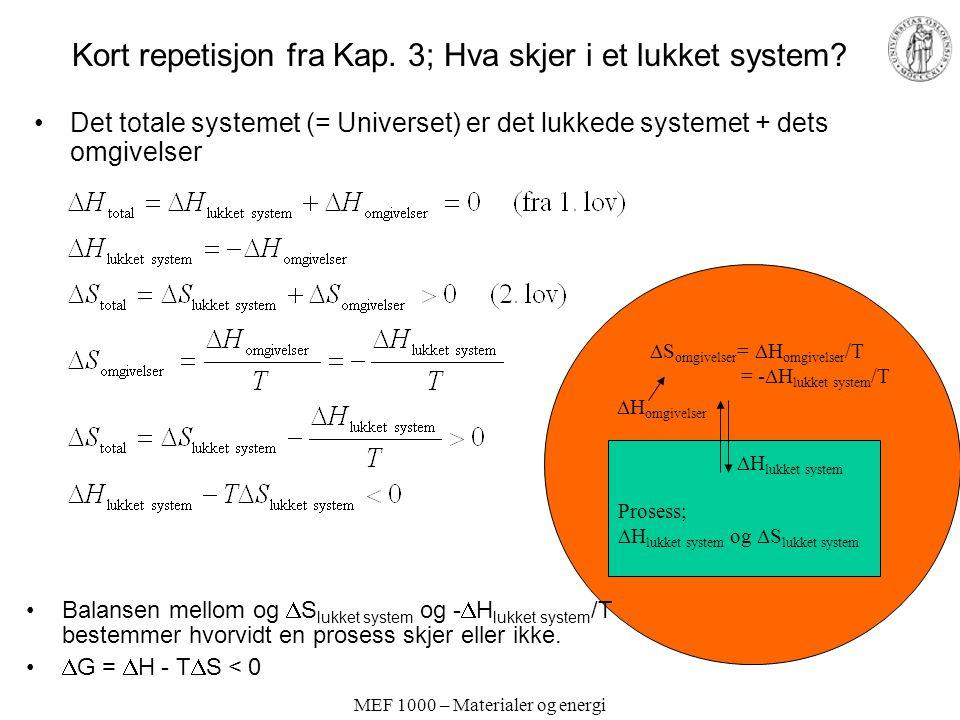 MEF 1000 – Materialer og energi Oppsummering Kapittel 6 Et mål med kapittelet har vært å gjøre seg kjent med –Viktige typer kjemiske reaksjoner og likevekter (syre-base, oppløsning- utfelling, kompleksering, red-oks, elektrokjemi) –Beregninger av konsentrasjoner i kjemiske likevektssystemer –Måter å fremstille data for likevekter på Konsentrasjoner i kjemiske likevekter kan beregnes ved å kombinere –Likevektsonstant(er) –Massebalanse(r) –Elektronøytralitet Alternativ (tradisjonell) metodikk i beregninger av bl.a.