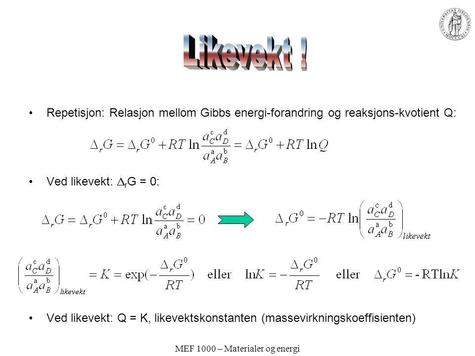 MEF 1000 – Materialer og energi Repetisjon: Relasjon mellom Gibbs energi-forandring og reaksjons-kvotient Q: Ved likevekt:  r G = 0: Ved likevekt: Q
