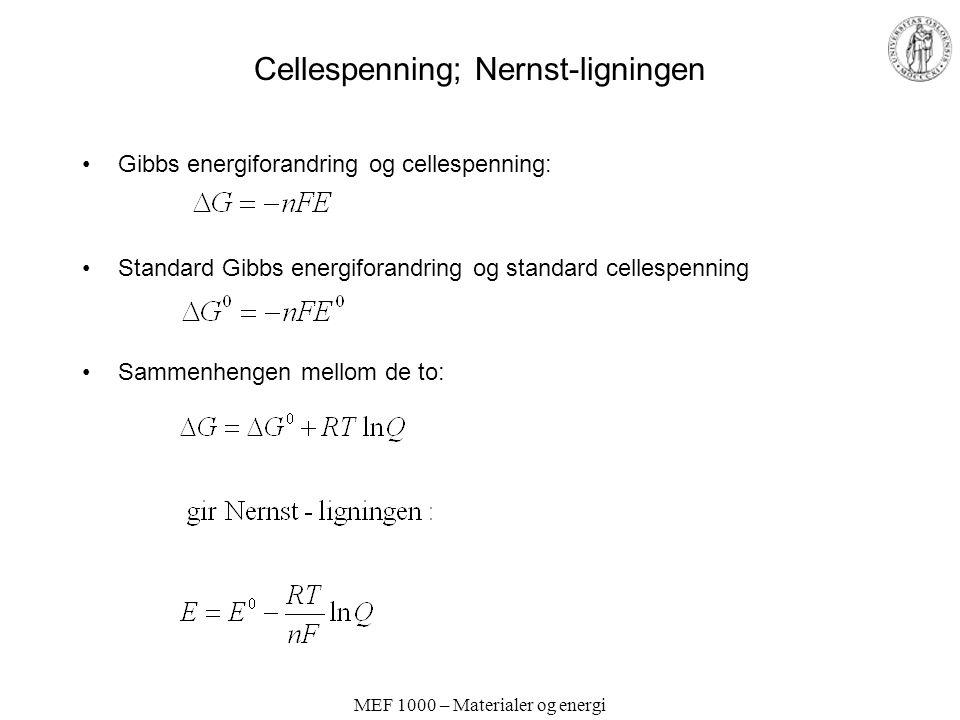 MEF 1000 – Materialer og energi Cellespenning; Nernst-ligningen Gibbs energiforandring og cellespenning: Standard Gibbs energiforandring og standard c