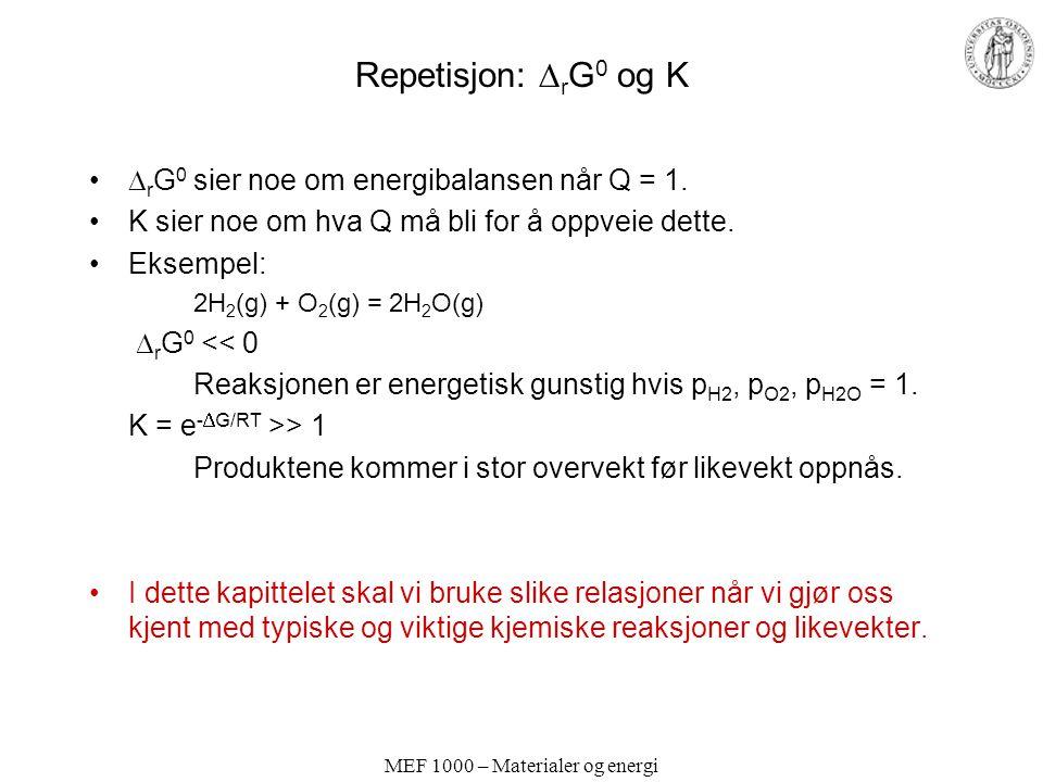 MEF 1000 – Materialer og energi Oksidasjon av metaller – reduksjon av oksider Ellingham-diagram Vi bruker som eksempel: Mg(s) + 1/2 O 2 (g) = MgO(s)  r G 0 = -RTlnK Reaksjonen skjer (går til høyre) ved standardbetingelser (1 atm O 2 ) hvis: K > 1  r G 0 < 0 Ellingham-diagram:  r G 0 vs temperatur Vi kan f.eks.