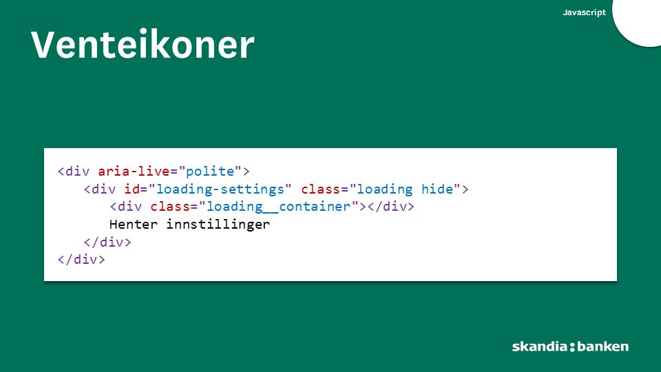 Javascript Venteikoner Henter innstillinger Henter innstillinger