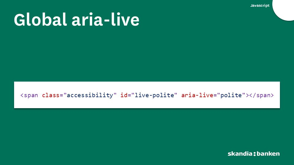Javascript Global aria-live
