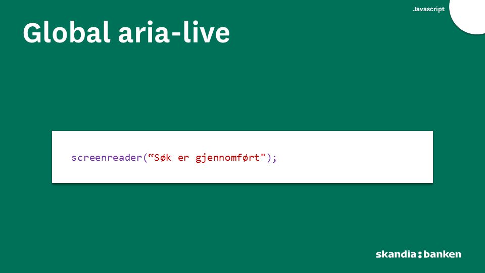 "Javascript Global aria-live screenreader(""Søk er gjennomført"