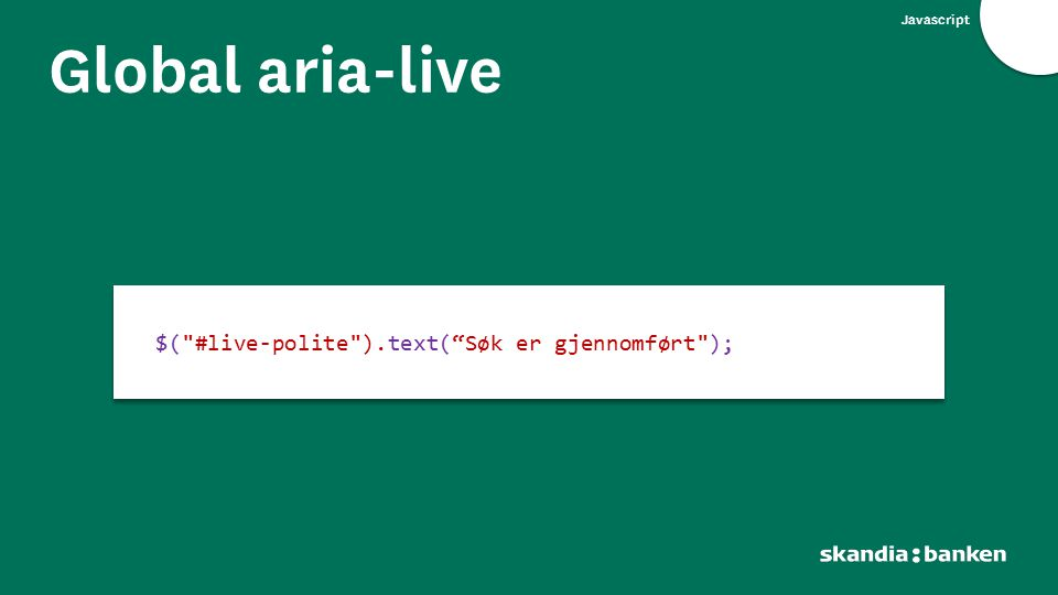 Javascript Global aria-live $(