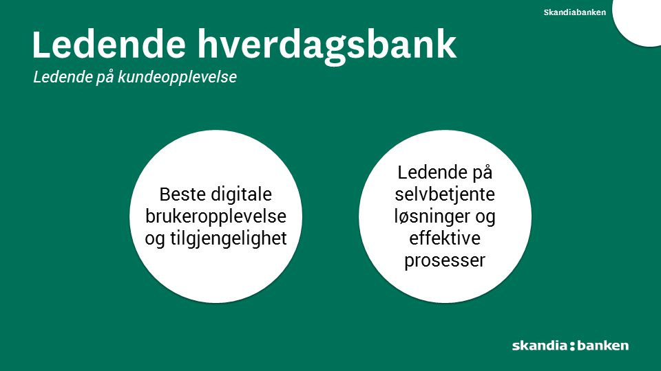 Skandiabanken Ledende hverdagsbank Ledende på kundeopplevelse Ledende på selvbetjente løsninger og effektive prosesser Beste digitale brukeropplevelse