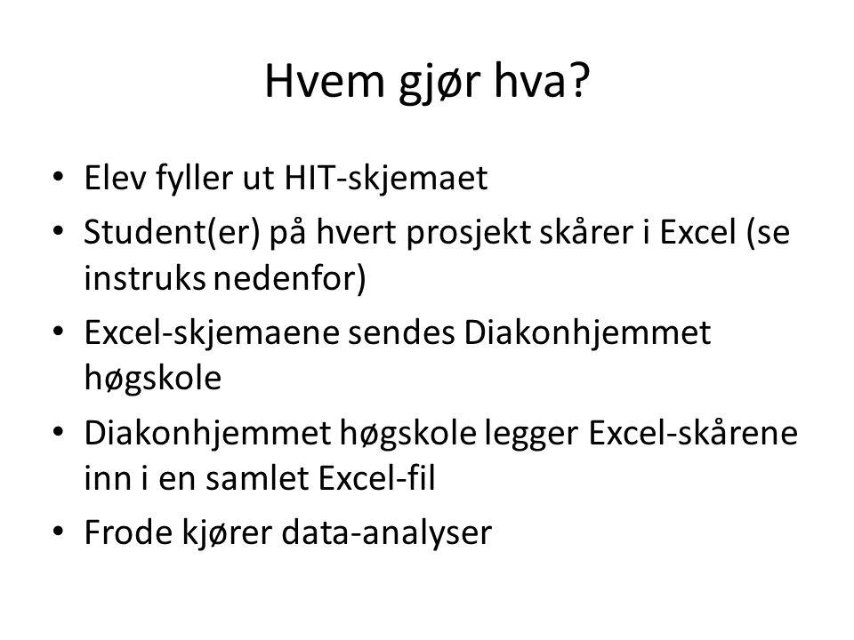 Hvem gjør hva? Elev fyller ut HIT-skjemaet Student(er) på hvert prosjekt skårer i Excel (se instruks nedenfor) Excel-skjemaene sendes Diakonhjemmet hø