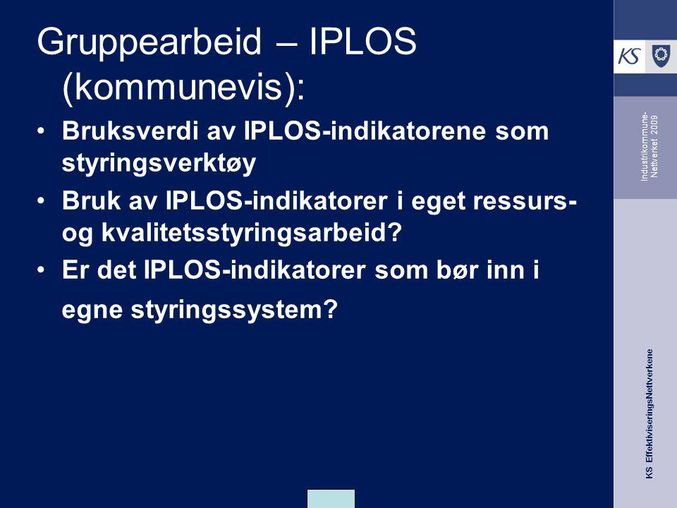 KS EffektiviseringsNettverkene Industrikommune- Nettverket 2009 Gruppearbeid – IPLOS (kommunevis): Bruksverdi av IPLOS-indikatorene som styringsverktøy Bruk av IPLOS-indikatorer i eget ressurs- og kvalitetsstyringsarbeid.