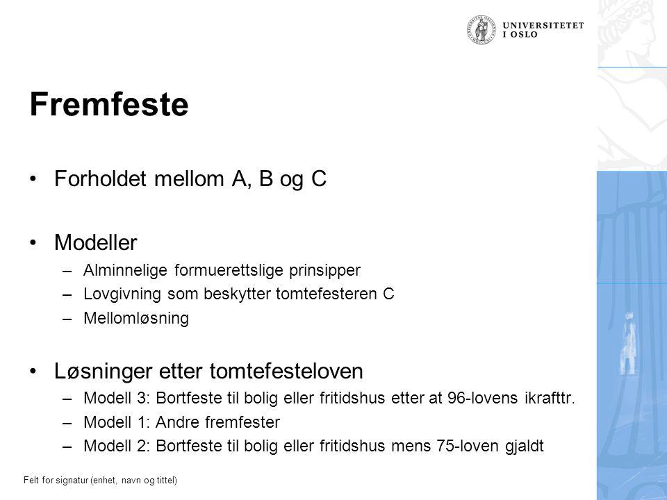Felt for signatur (enhet, navn og tittel) Fremfeste Forholdet mellom A, B og C Modeller –Alminnelige formuerettslige prinsipper –Lovgivning som beskyt