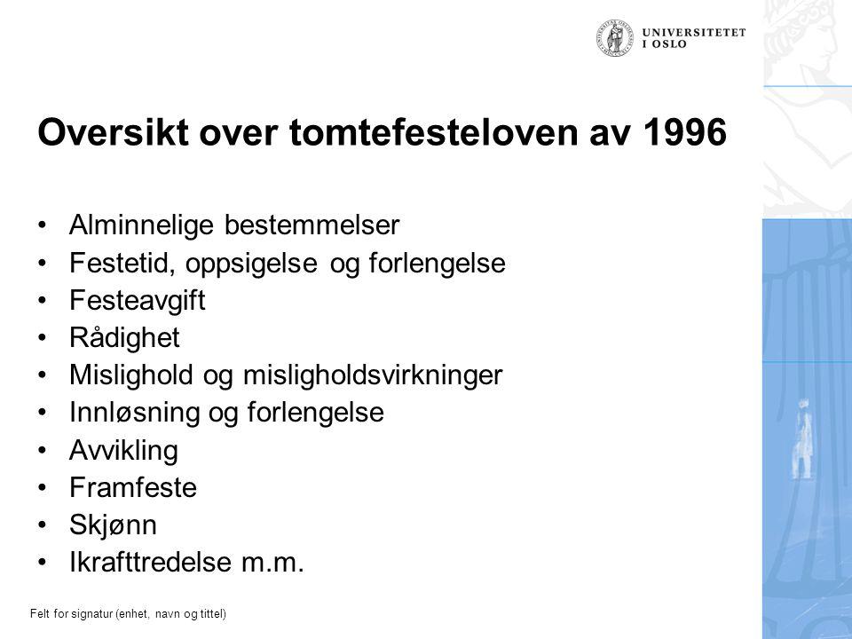 Felt for signatur (enhet, navn og tittel) Oversikt over tomtefesteloven av 1996 Alminnelige bestemmelser Festetid, oppsigelse og forlengelse Festeavgi