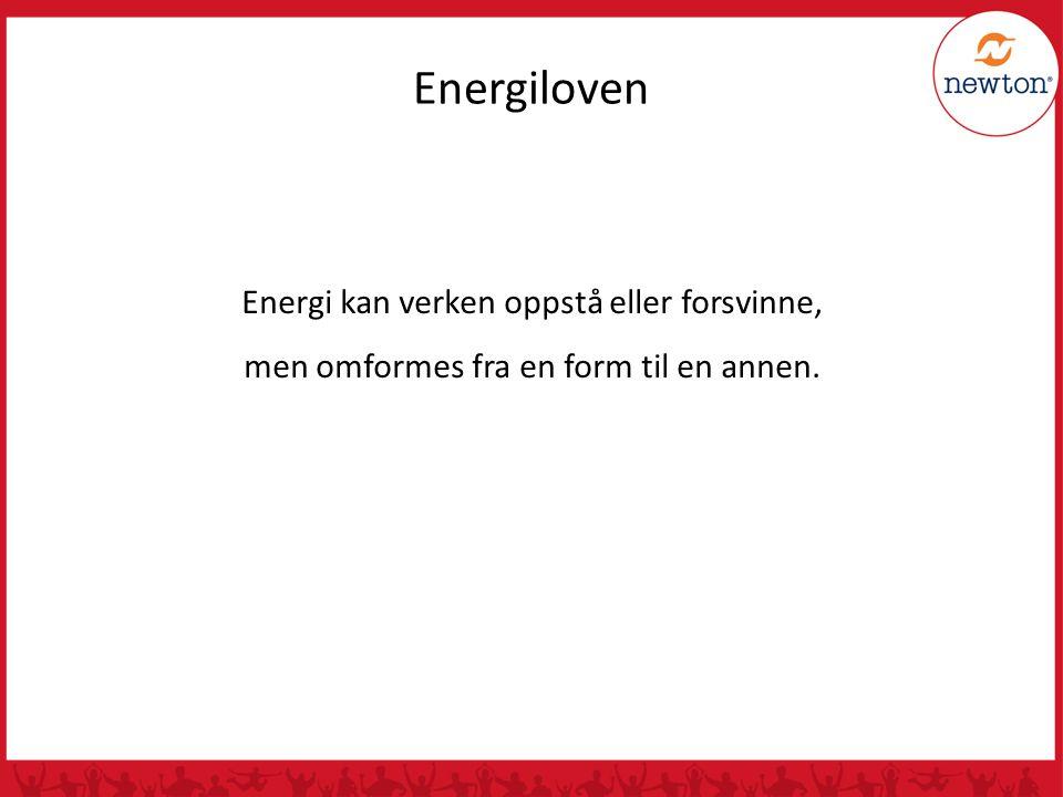 Energi kan verken oppstå eller forsvinne, men omformes fra en form til en annen. Energiloven