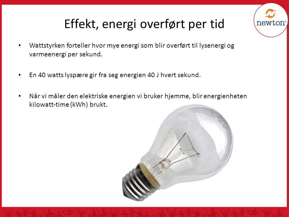 Effekt, energi overført per tid Wattstyrken forteller hvor mye energi som blir overført til lysenergi og varmeenergi per sekund. En 40 watts lyspære g