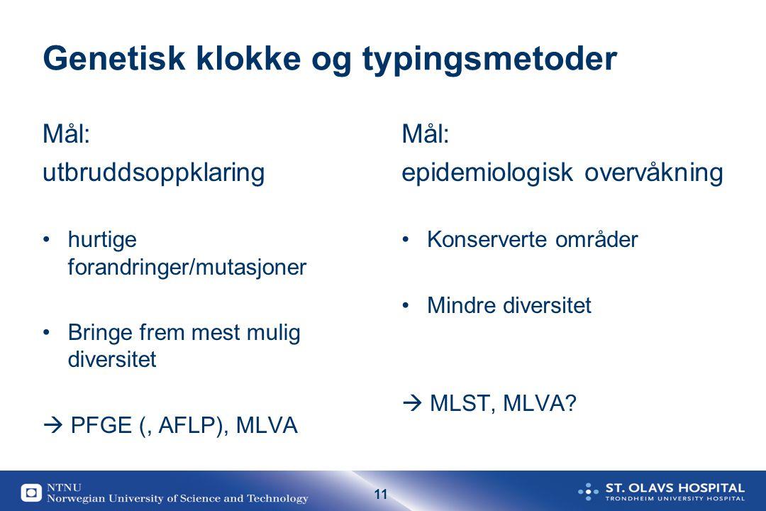 11 Genetisk klokke og typingsmetoder Mål: utbruddsoppklaring hurtige forandringer/mutasjoner Bringe frem mest mulig diversitet  PFGE (, AFLP), MLVA M