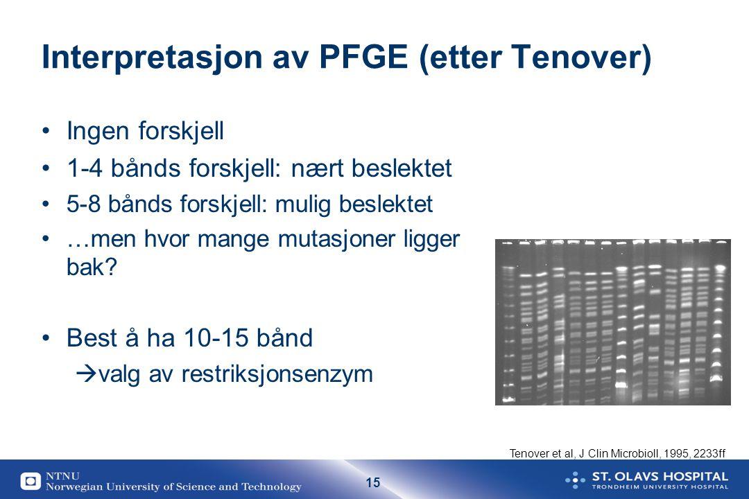 15 Interpretasjon av PFGE (etter Tenover) Ingen forskjell 1-4 bånds forskjell: nært beslektet 5-8 bånds forskjell: mulig beslektet …men hvor mange mut