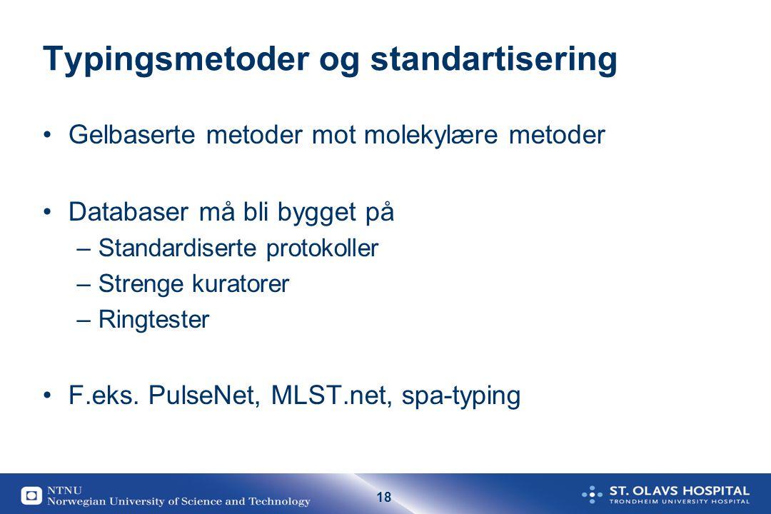 18 Typingsmetoder og standartisering Gelbaserte metoder mot molekylære metoder Databaser må bli bygget på –Standardiserte protokoller –Strenge kurator