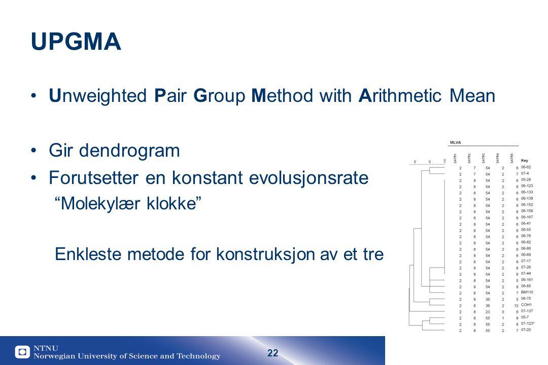 22 UPGMA Unweighted Pair Group Method with Arithmetic Mean Gir dendrogram Forutsetter en konstant evolusjonsrate Molekylær klokke Enkleste metode for konstruksjon av et tre