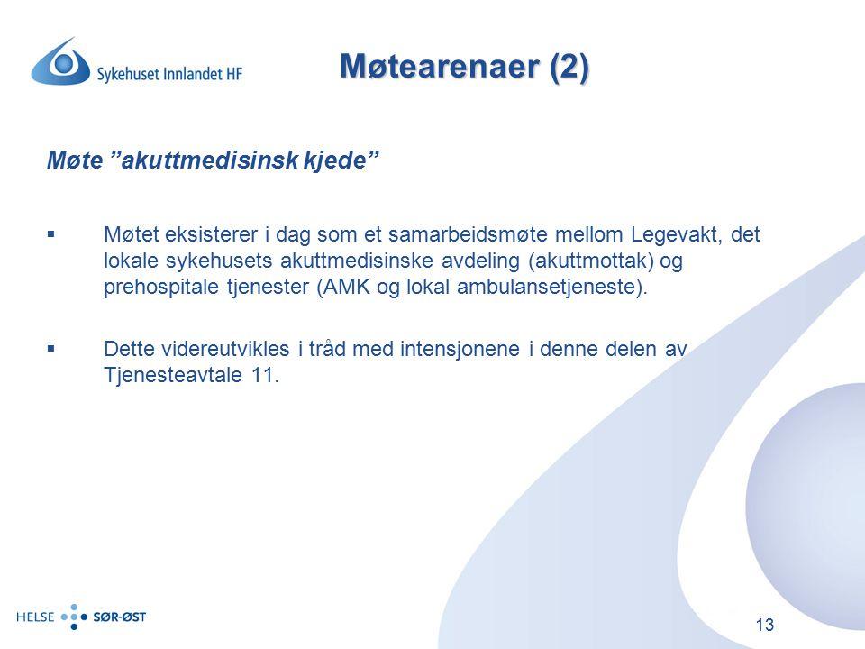 13 Møtearenaer (2) Møte akuttmedisinsk kjede  Møtet eksisterer i dag som et samarbeidsmøte mellom Legevakt, det lokale sykehusets akuttmedisinske avdeling (akuttmottak) og prehospitale tjenester (AMK og lokal ambulansetjeneste).