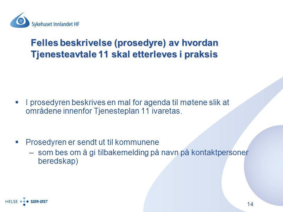 14 Felles beskrivelse (prosedyre) av hvordan Tjenesteavtale 11 skal etterleves i praksis  I prosedyren beskrives en mal for agenda til møtene slik at områdene innenfor Tjenesteplan 11 ivaretas.